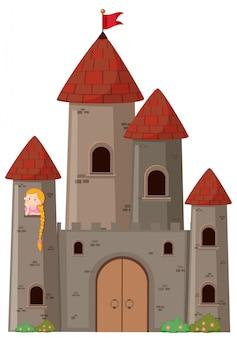 Grande castelo com princesa
