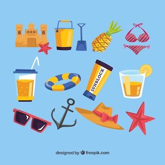 Grande, cobrança, colorido, verão, objetos