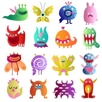 Grande coleção colorida de monstros engraçados com amendoim planta com medo de touro em criaturas espirais de amor isoladas