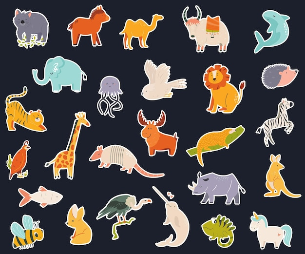 Grande coleção de adesivos com animais para cada letra do alfabeto inglês. ilustração vetorial