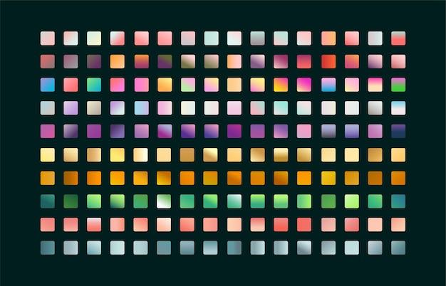 Grande coleção de amostras com combinações de paletas de gradientes em tons pastéis