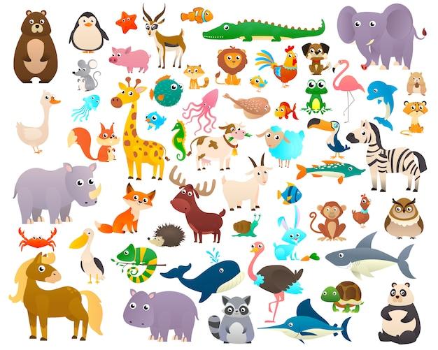Grande coleção de animais de desenho animado
