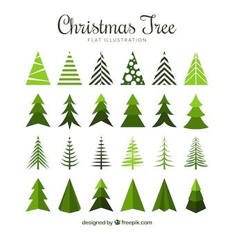 Grande coleção de árvores de natal em design plano