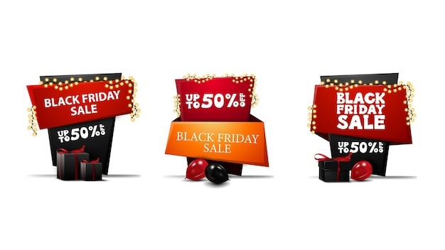 Grande coleção de banners de descontos de vendas da black friday em estilo cartoon na forma de ponteiros