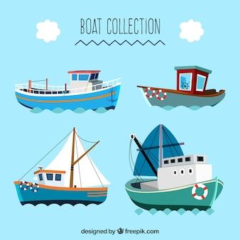 Grande coleção de barcos planos