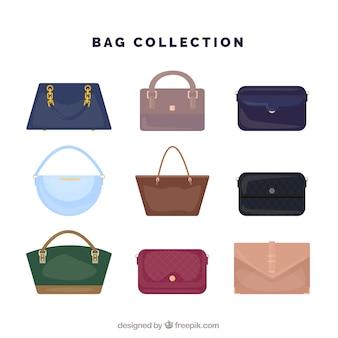 Grande coleção de bolsas da mulher