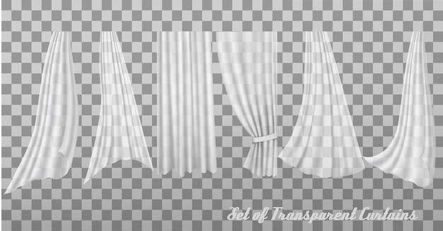 Grande coleção de cortinas transparentes. vetor
