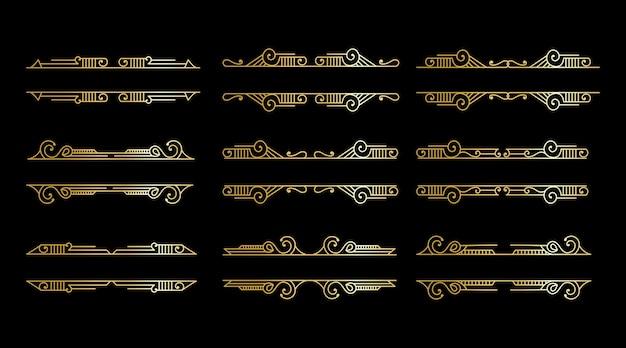 Grande coleção de elementos art déco antigos luxuosos bordas douradas emolduram divisórias e cabeçalhos de cantos