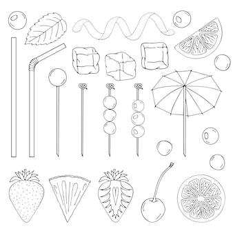 Grande coleção de elementos para decoração de coquetéis.