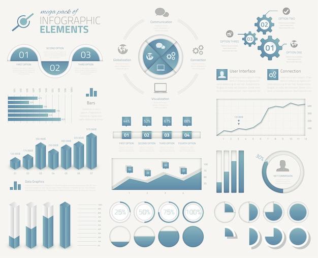 Grande coleção de elementos vetoriais infográficos de negócios modernos
