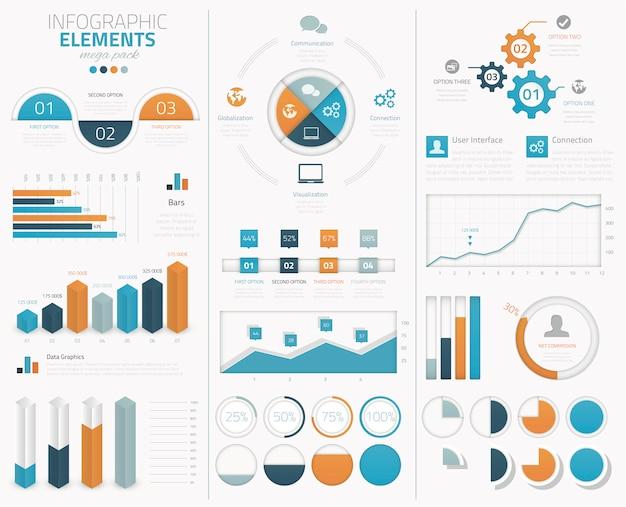 Grande coleção de elementos vetoriais infográficos para exibição de dados