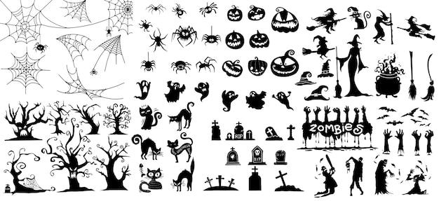 Grande coleção de feliz dia das bruxas magia coleção