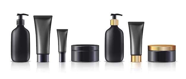 Grande coleção de frascos e potes de creme na cor preta com ou sem tampas douradas isoladas