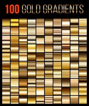 Grande coleção de fundos gradientes dourados.