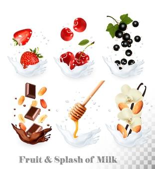 Grande coleção de ícones de frutas e bagas em um respingo de leite. morango, baunilha, mel, nozes, chocolate, cereja, groselha preta, amendoim.
