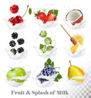Grande coleção de ícones de frutas e bagas em um respingo de leite. pêra, laranja, morango, uva, maçã, amora, cereja, coco, mel, groselha