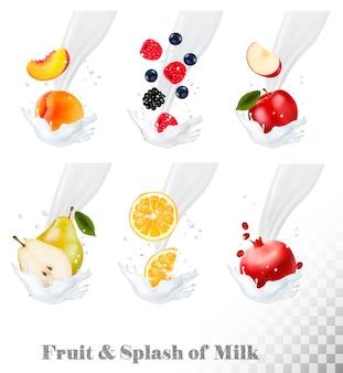 Grande coleção de ícones de frutas e bagas em um respingo de leite. pêra, laranja, romã, pêssego, maçã, mirtilo.