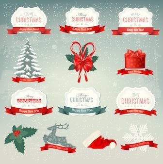 Grande coleção de ícones de natal e elementos de design
