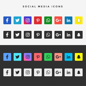 Grande coleção de ícones populares de mídia social plana