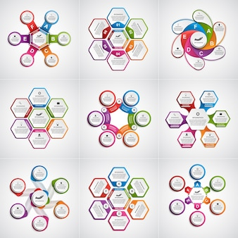 Grande coleção de infográficos coloridos.