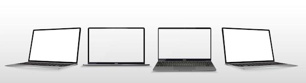 Grande coleção de laptop de diferentes ângulos e posições.