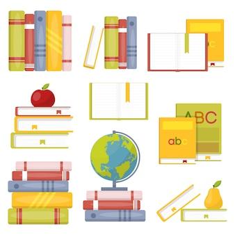 Grande coleção de livros escolares