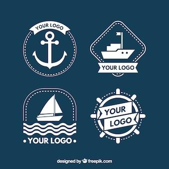 Grande coleção de logotipos de barco branco