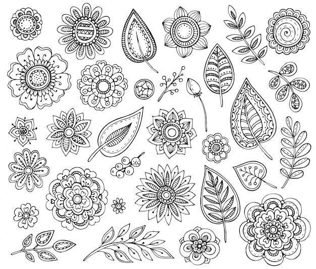 Grande coleção de mão desenhada ornamentadas flores chiques