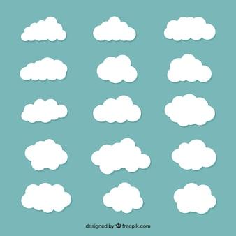 Grande coleção de nuvens brancas