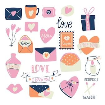 Grande coleção de objetos de amor e símbolos para feliz dia dos namorados. ilustração plana colorida.
