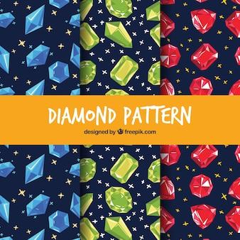 Grande coleção de padrões com gemas coloridas