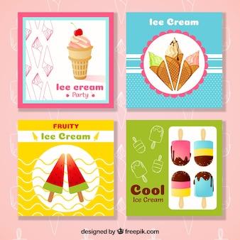 Grande coleção de quatro cartões de sorvete