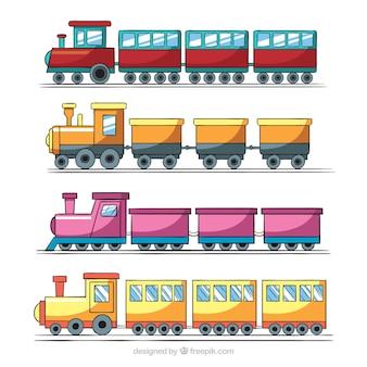 Grande coleção de quatro trens de brinquedo