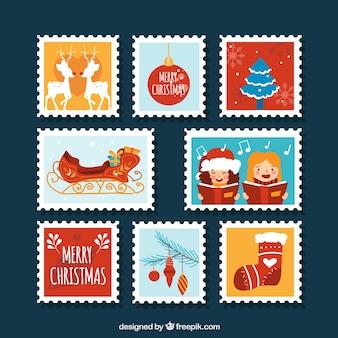Grande coleção de selos de natal plano