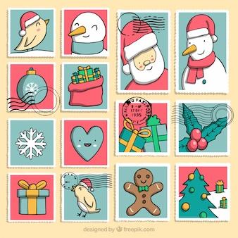 Grande coleção de selos de natal