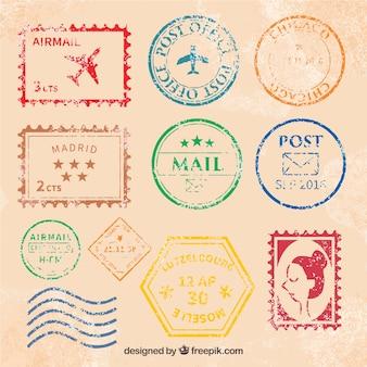 Grande coleção de selos de postagem vintage