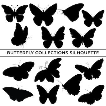 Grande coleção de silhuetas de borboletas em diferentes poses