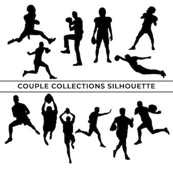 Grande coleção de silhuetas negras de jogadores de basquete em diferentes poses