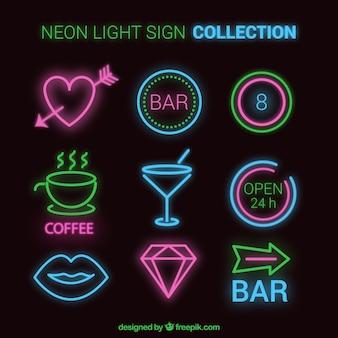 Grande coleção de sinais de luz de néon