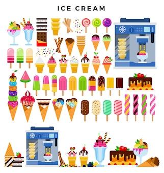 Grande coleção de sorvetes coloridos