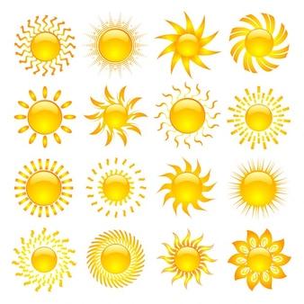 Grande coleção de vários ícones do sol