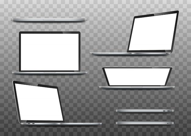 Grande coleção maquetes de laptops realistas.