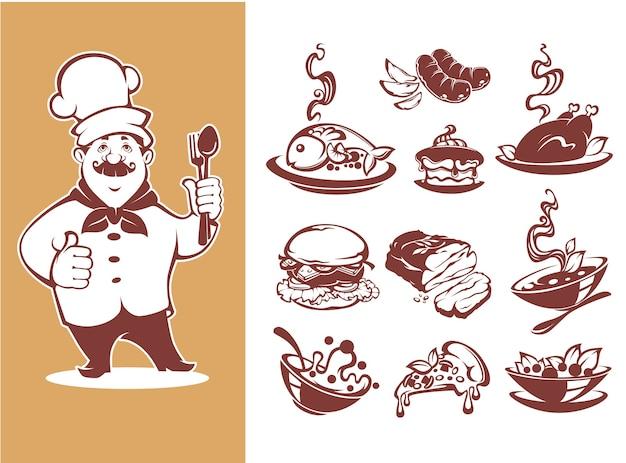 Grande coleção para seu menu, chef, café da manhã, sopa, prato principal, prato, salada, sobremesa