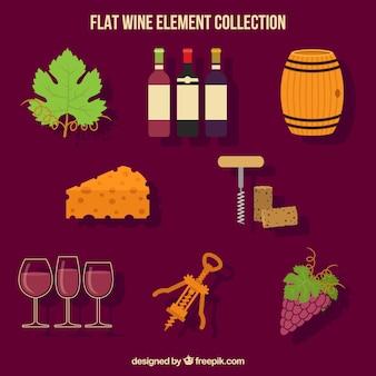 Grande coleção plana de elementos de vinho