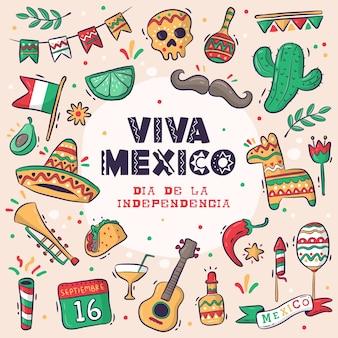 Grande coleção viva mexico, dia de la independencia ou dia da independência desenhada à mão