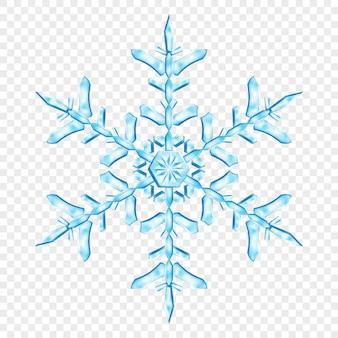 Grande complexo floco de neve de natal translúcido nas cores azuis claras, isolado em fundo transparente. transparência apenas em formato vetorial