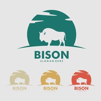 Grande conceito de design de logotipo simples e plano de bisonte selvagem