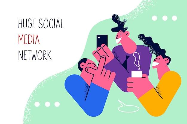 Grande conceito de rede de mídia social