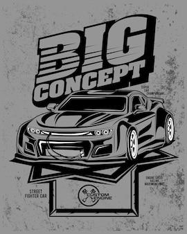 Grande conceito, ilustração de um carro com motor personalizado