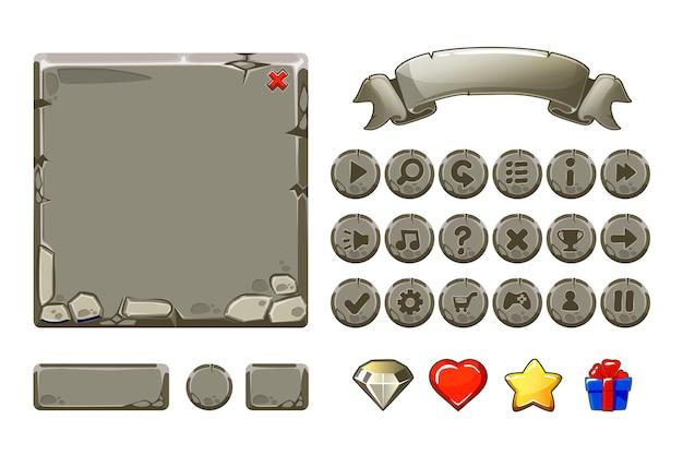 Grande conjunto ativos de pedra cinza dos desenhos animados e botões para jogo de interface do usuário, ícones da gui